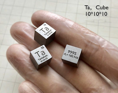 High Purity Tantalum Ta Metal 99.9% 10mm Cube Carved Element Periodic Table 1pc