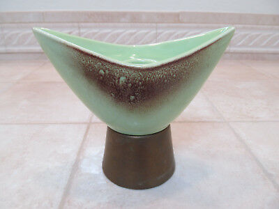 Vintage Mid Century Modern Green Brown Drip Ceramic Metal Candle Holder