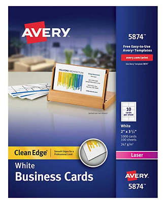 Avery Printable Business Cards, Laser Printers, 1,000 Cards, 2 x 3.5, Clean Edge
