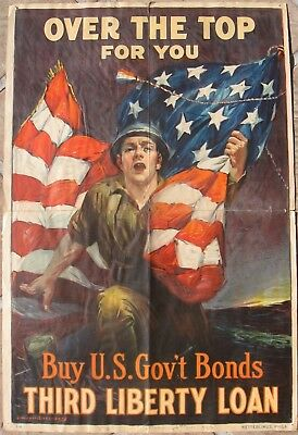 "1918 Original WW1 Poster - ""Over The Top For You"" - U.S. Govt. 3rd Liberty Loan"