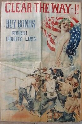 "1918 Original WW1 Poster -""CLEAR-THE-WAY!!"" - U.S. Government 4th. Liberty Loan"
