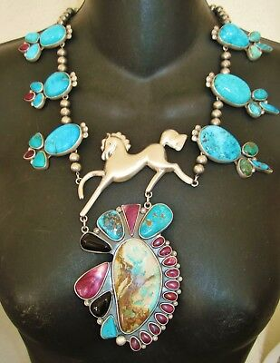 NAVAJO STUNNING HORSE NECKLACE -GARCIA- Prancing Sterling Silver Horse,Turquoise
