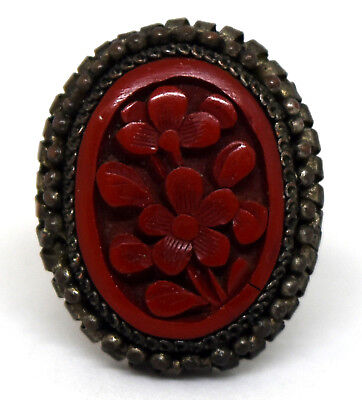 Antique Chinese Cinnabar and Brass Floral Ring Size 6 - 8 Adjustable