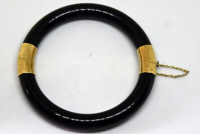Vintage Chinese 14K Solid Gold and Black Jade Bracelet/Bangle