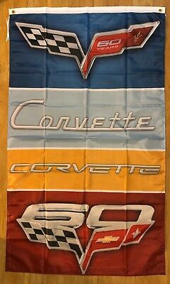 Corvette 60 Year Anniversary Logo 3X5 Garage Wall Banner Flag C6 FREE SHIPPING