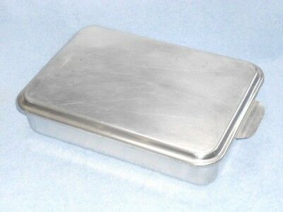 """Vintage Aluminum cake baking pan w/Foley snap-on lid/cover, 13 x 9 x 2 1/2"""""""