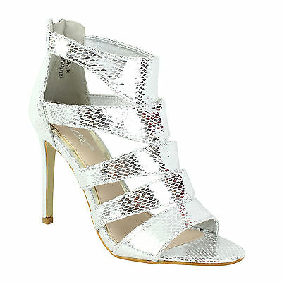 567374ce9940 Womens Ladies Sandals High Stiletto Heel Caged Gladiator Ankle Zip Up Size  Shoes