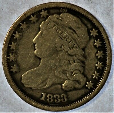 1833 Collectible Silver Capped Bust Half Dime (b423.105)