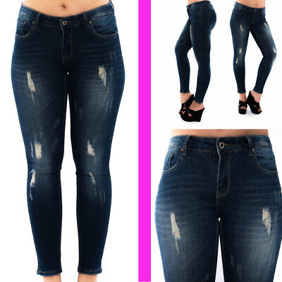 **Huge Sale** Womens Ladies Skinny Fit Ripped Blue Jeans Sexy Faded Denim Size
