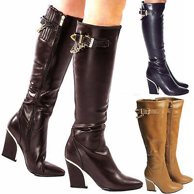 Women's Ladies Leather Look Shoes Winter Casual Mid Hi Heel Zip Knee High Boots