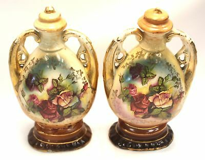 Pair of Vintage UNBRANDED Pottery URN ORNAMENTS with Floral Design  - S36