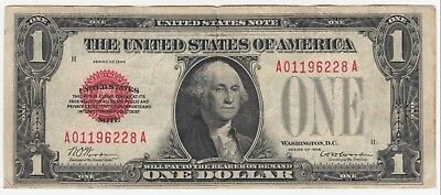 1928 $1 United States Note Red Seal FR# 1500 Funny Back  AA Block (A5656)