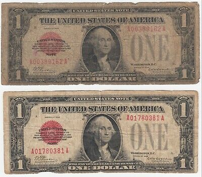 (Lot of 2) 1928 $1 United States Notes Red Seal FR# 1500 Funny Back  AA Block