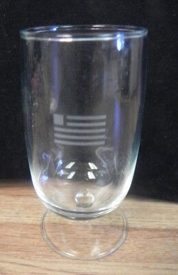 VINTAGE US Airways WINE GLASS with US Flag..USAIRWAYS AIRLINES FIRST CLASS GLASS