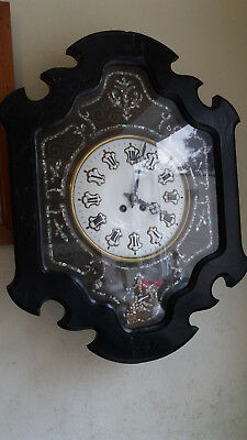 Antique 19Th C  French - Bakers - Ebonised Enamel Mother Of Pearl Wall Clock