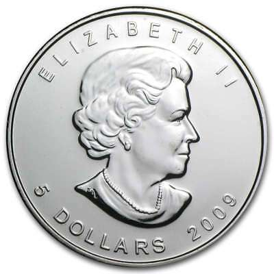 CANADA $5 Dollars 2009 (MAPLE LEAF) SILVER 1oz coin (.9999) NEW IN CAPSULE