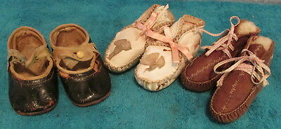 Antique Toddler's Button Strap Shoes~2 Pairs Vtg Leather Baby Moccasins~Amazing