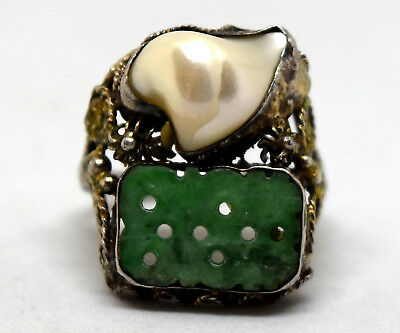 Antique Chinese Silver Hand Carved Jade and Pearl Filigree Ring Size 6