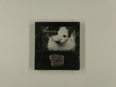 """Curious Kitty Picture Frame, Wooden w/Pewter Plaque 5"""" x 3.5"""" Picture"""