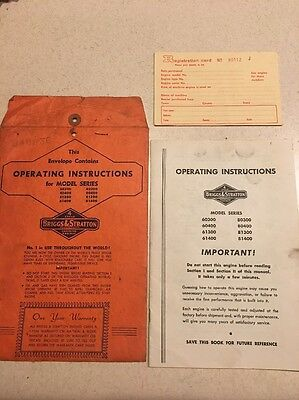 Briggs & Stratton Operator's Manual Instructions Engine Models 60300 80400 60400