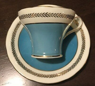 Blue And Gold Aynsley Bone China England Teacup And Saucer