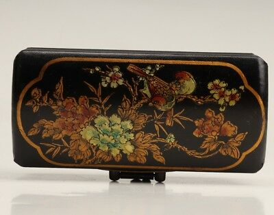 Wood Leather Flowers  Birds Jewelry Box Decoration Box Collectio