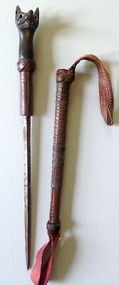 Antique Riding Crop English Equestrian Fox Carved Horn Handle Concealed Blade