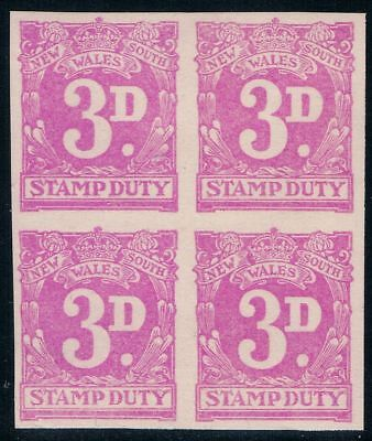 Australia NSW  3d Imperforate Revenue Duty Tax Stamps MNH Block.