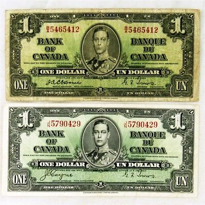 Pair of 1937 Issue Canada $1 Notes - F/VF - 2 Different Signature Combos