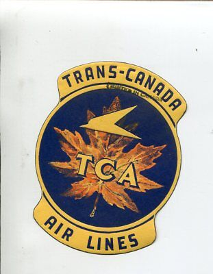 Vintage Airline Luggage Label TRANS-CANADA AIRLINES TCA Maple Leaf