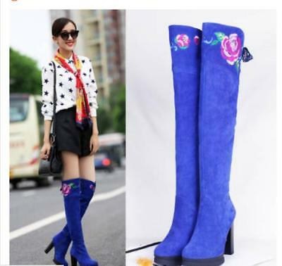 Womens Embroidery Flower Knee High Boots Suede High Block Heel Platform Shoes