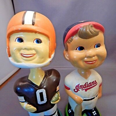Rare Pair of Vintage Cleveland Browns & Indians Plaster Bobbleheads Nodders