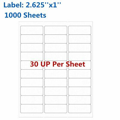 2.625''x1'' 1000 Sheets Address Shipping Labels Amazon FBA 30 Per Sheet 30UP