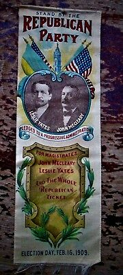 1909 Republican Party Phila Penna Election Ribbons Yates Mecleary Magistrates Vg