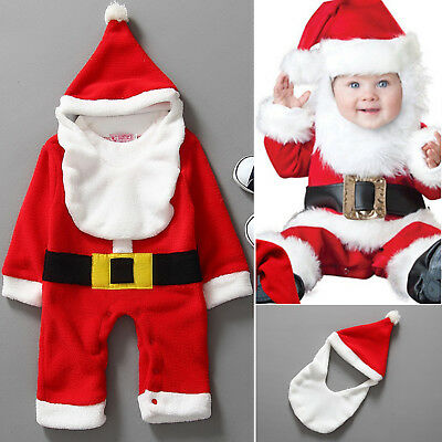 3Pcs Newborn Baby Kids Christmas Boys Girls Santa Romper Hat Bib Costume Outfits