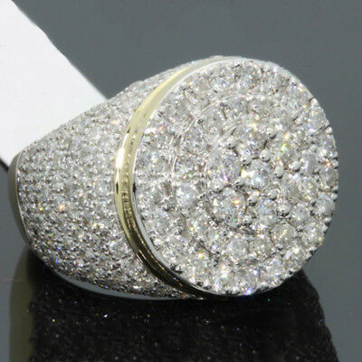 Fashion Mens 18K Gold Iced Out Micro Pave Chunky Sparkling Bling Ring Jewelry
