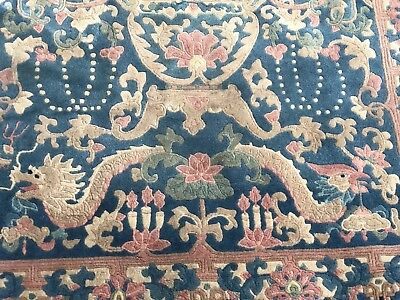 Auth: 30's Antique Art Deco Chinese Rug Fetti Blue Meditation Wool Beauty 4x7 NR