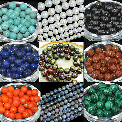"""Gemstone Round Spacer Loose Beads 2mm 4mm 6mm 8mm 10mm 12mm 15.5"""""""