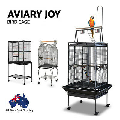 AU Stock Bird Cage Parrot Aviary Pet Stand-alone Budgie Perch Castor Wheels