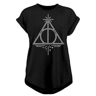 Ufficiale Donna Harry Potter Deathly Hallows Rolled T-Shirt Maniche