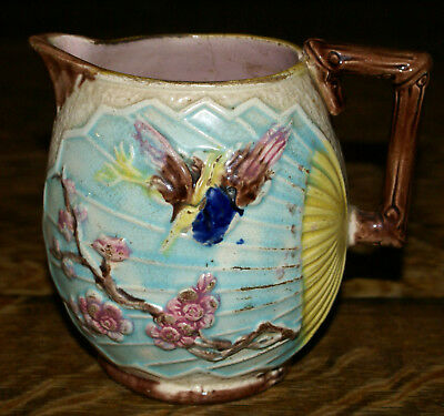 1880's Anglo Japanese Majolica Bird Butterfly & Fan Aesthetic Movement Pitcher