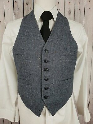Vtg Mens 4 Pocket Single Breast Cartier Tweed Look Wool Waistcoat -38S- HB73