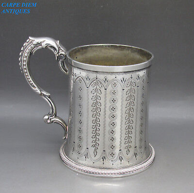 ANTIQUE VICTORIAN SUPERB SOLID STERLING SILVER CHRISTENING MUG R&B 162g SHF 1870