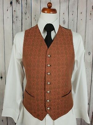 Vtg Mens Salmon / Green Damask Pattern Single Breast Waistcoat -40- HB80