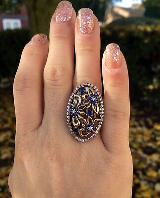 Crown! 925 Sterling Silver Sapphire Turkish Style Ring Size Q/ 8/ 57 Handmade