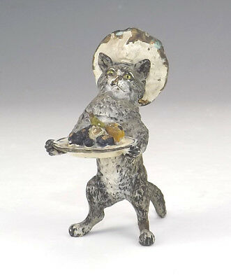 Antique Vienna Cold Painted Bronze - Comical Chef Cat With Fruit Dish Figure