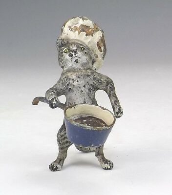 Antique Vienna Cold Painted Bronze - Comical Chef Cat With A Saucepan Figure