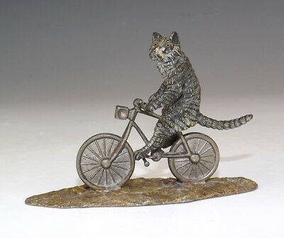 Antique Vienna Cold Painted Bronze - Comical Cycling Cat Figure - Unusual!
