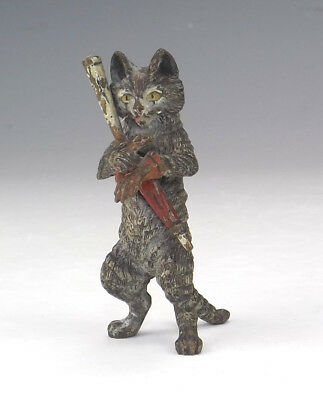 Antique Vienna Cold Painted Bronze - Comical Cat With Umbrella & Gloves Figure