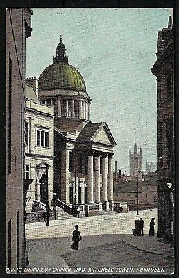 Postcard : Aberdeen the Library Church and Tower posted 1916